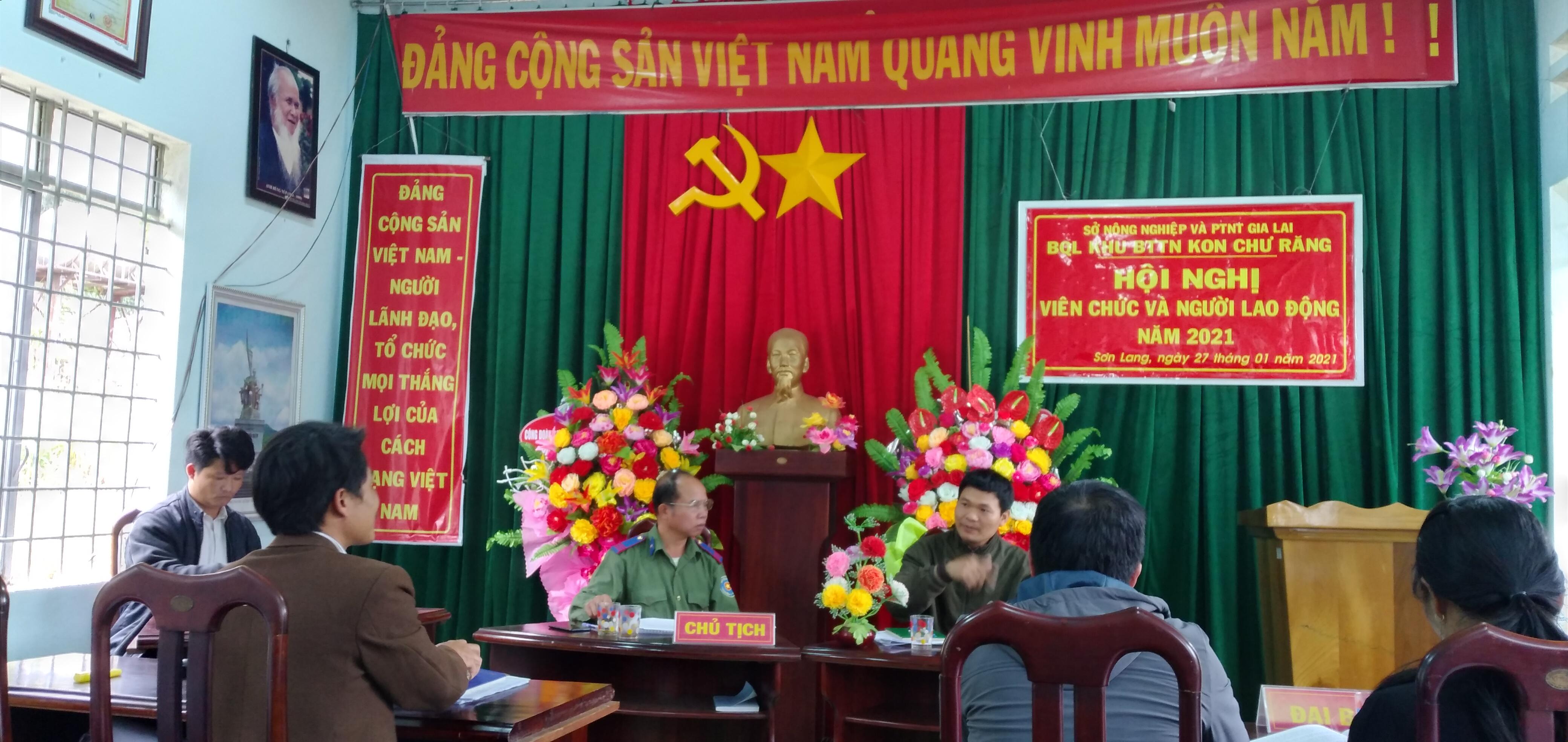 Một số hình ảnh về Hội nghị viên chức và người lao động năm 2021 tại BQL Khu BTTN Kon Chư Răng